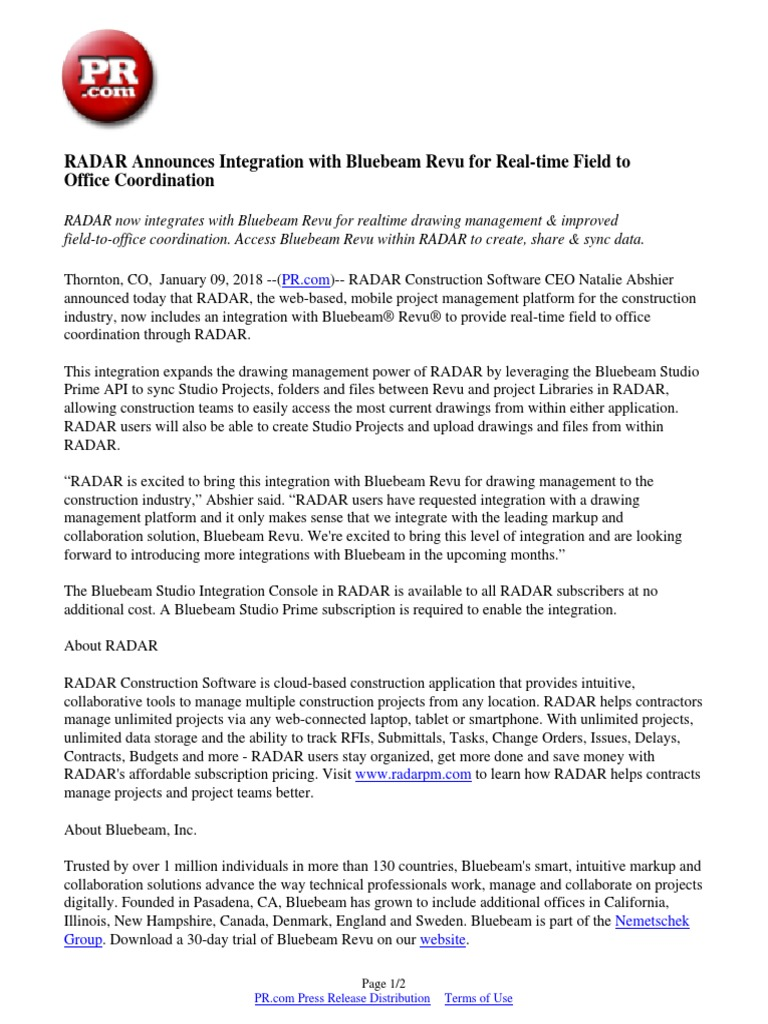 RADAR Announces Integration with Bluebeam Revu for Real-time