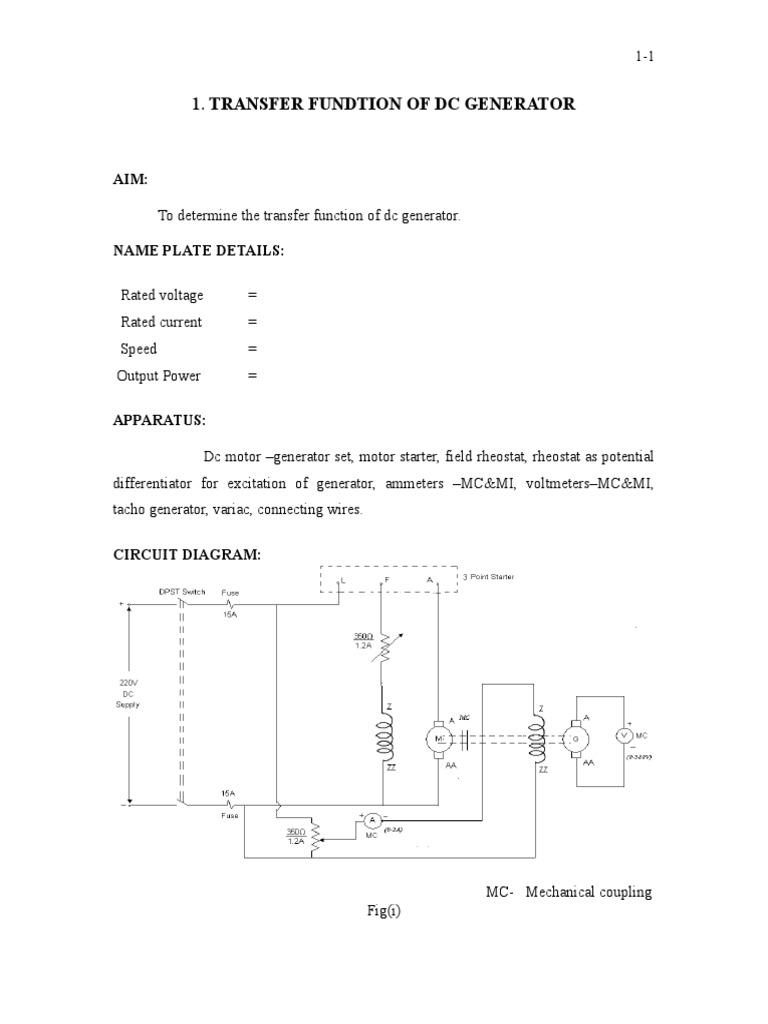 1 Transferfundtionofdcgenerator Electric Generator Electrical Circuit Diagram Rheostat Impedance