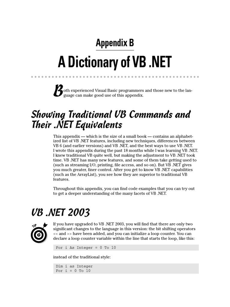 23692343 Dictionary of VB NET | Visual Basic  Net | Parameter