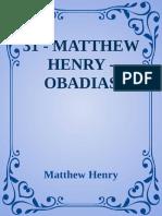 31 - Matthew Henry - Obadias - Matthew Henry