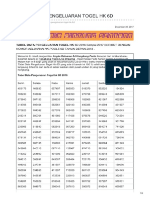Kodesyair com-tabel Data Pengeluaran Togel Hk 6d