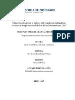Clima Social Laboral y Valores Individuales en trabajadoras sociales de hospitales nivel III-I de Lima Metropolitana, 2017