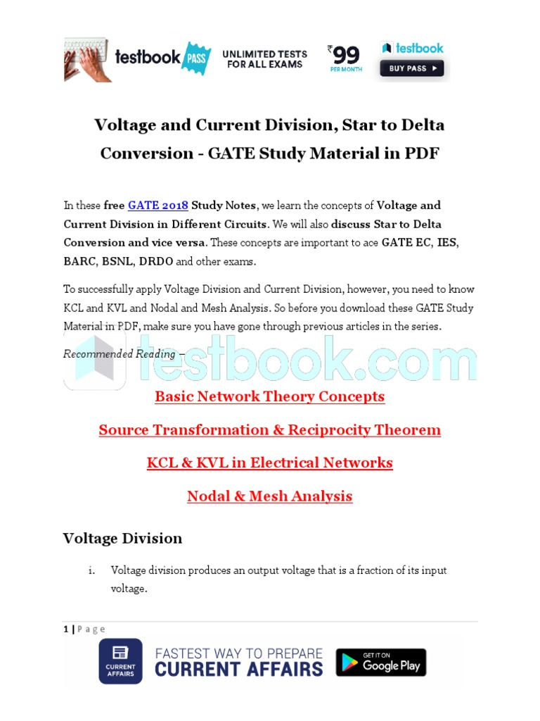 Voltage And Current Division Star To Delta Conversion Gate Study Below Is A Divider Circuit With Source Material In Pdf Series Parallel Circuits Electrical Network