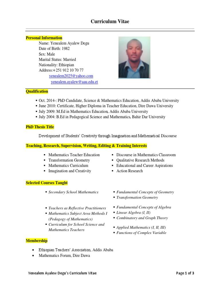 Yenealem Ayalew Degu (CV) | Ethiopia | Teachers