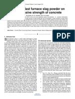 Effect of Blast Furnace Slag Powder on Compressive Strength of Concrete
