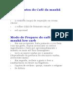 Ingredientes Do Café Da Manhã Low Carb
