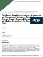 Ice Cream Bars Listeria Recall