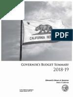California Budget Summary 2018-19