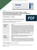Espasticidad Despues de La Lesion Medular, Revision de Los Mecanismos Fisiopatologicos, Tecnicas, De Diagnostico y Tratamiento Fisioterapeuticos Actuales
