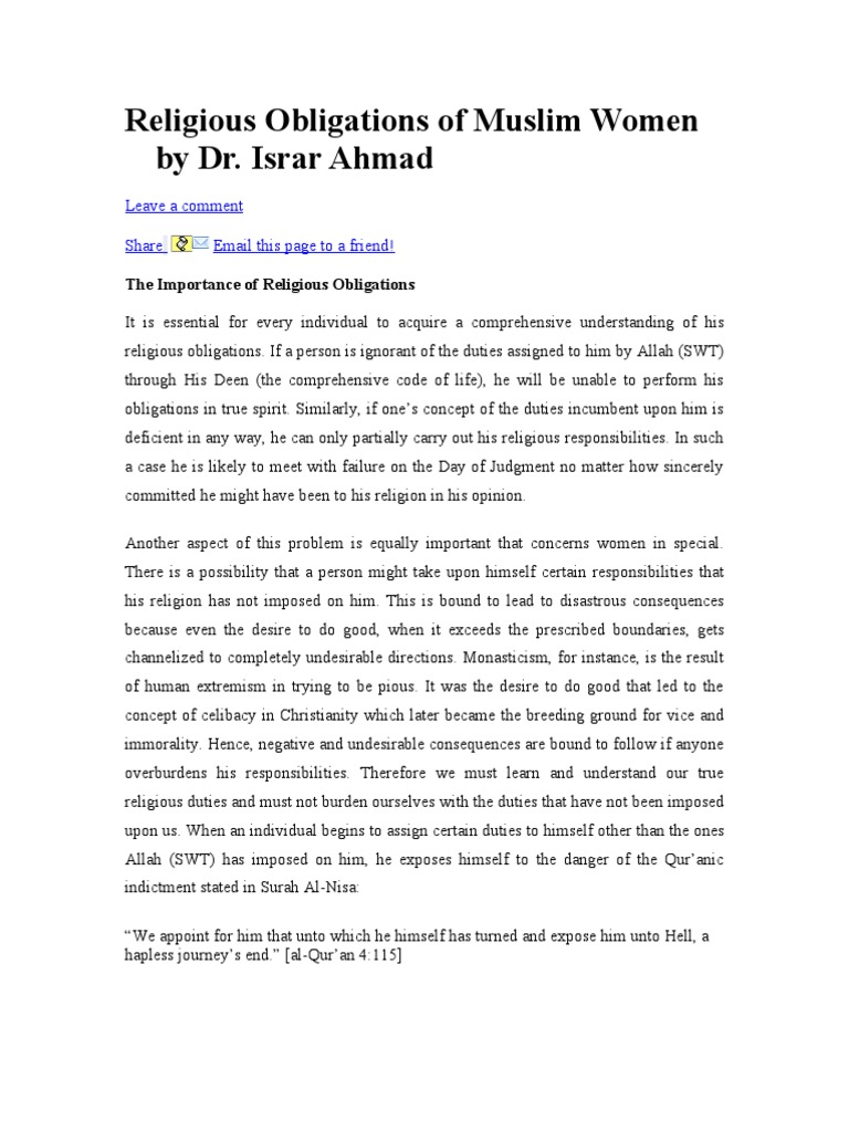 Four obligations of Muslims?