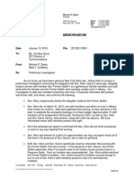 Jeff Klein Sexual Misconduct Allegation Investigation Memo