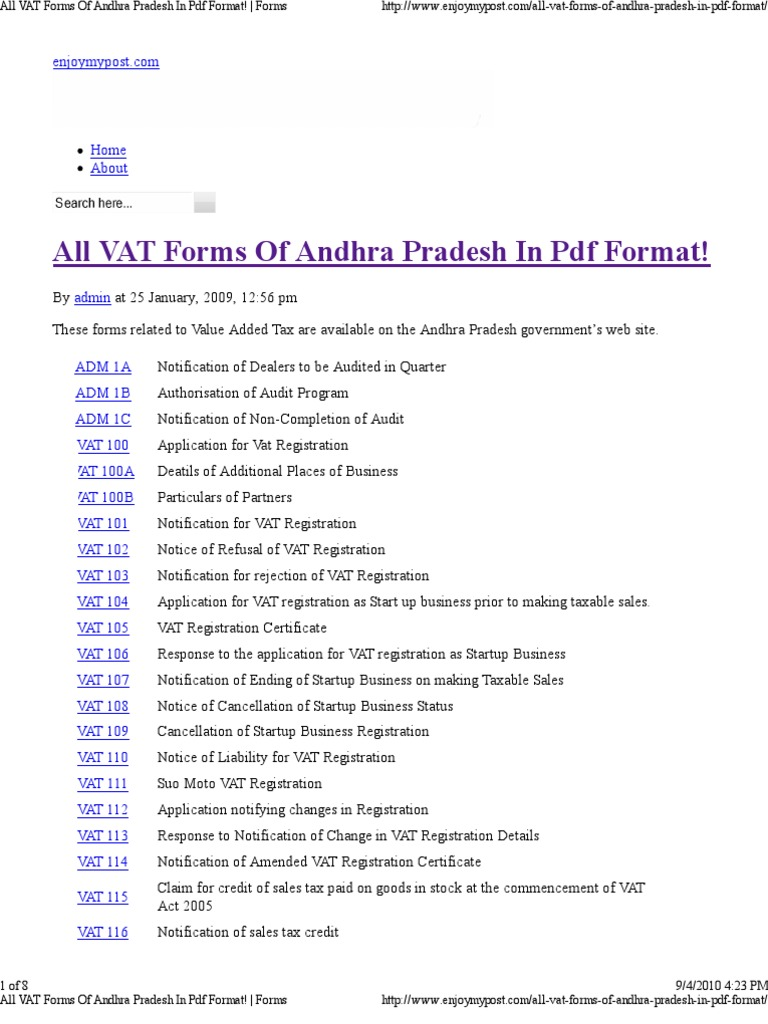 All vat forms of andhra pra value added tax tax credit yadclub Choice Image