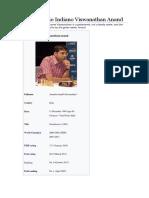 Um Campeão Indiano Viswanathan Anand