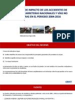 Indicadores de Impacto de Accidentes de Carreteras 2004 -2016