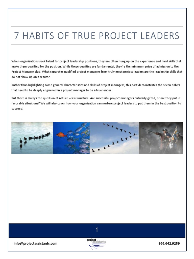 Seven Habits Of True Project Leaders V8 Project Management