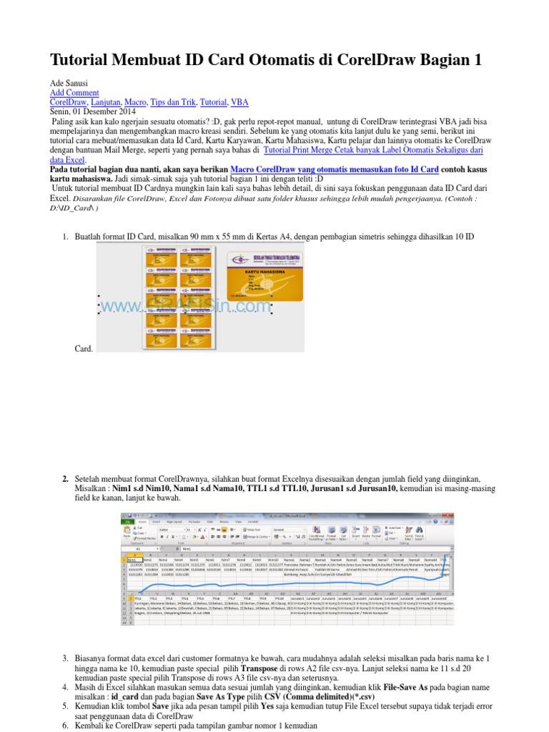 Tutorial Membuat ID Card Otomatis di CorelDraw Bagian 1 docx