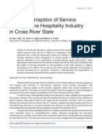 Tourist Perception of Service Quality in the Hospitality Industry in Cross River State