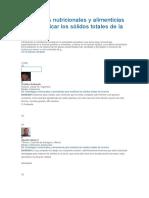 Estrategias Nutricionales y Alimenticias Para Modificar Los Sólidos Totales de La Leche