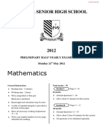 2012 Loyola Senior High School Maths 2Unit Trial Paper