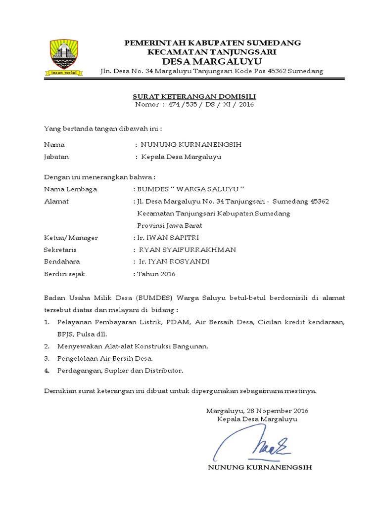 Contoh Surat Keterangan Domisili Lembaga Dari Desa