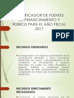 Clasificador de Fuentes de Financiamiento y Rubros Para