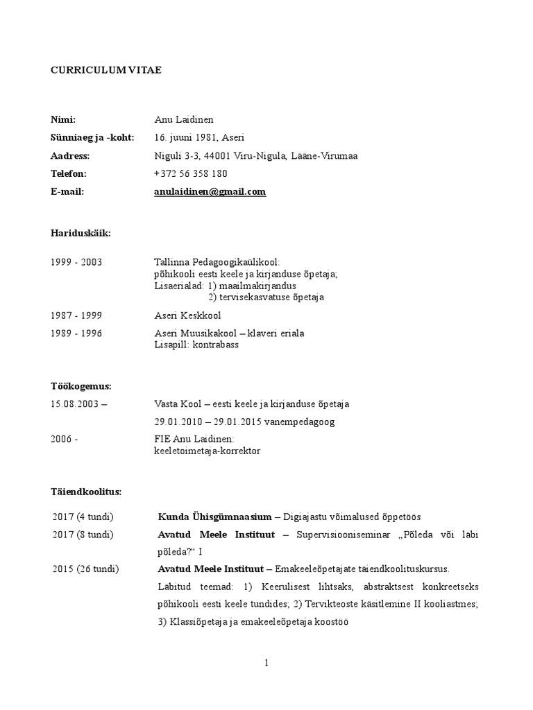 curriculum vitae eesti keeles