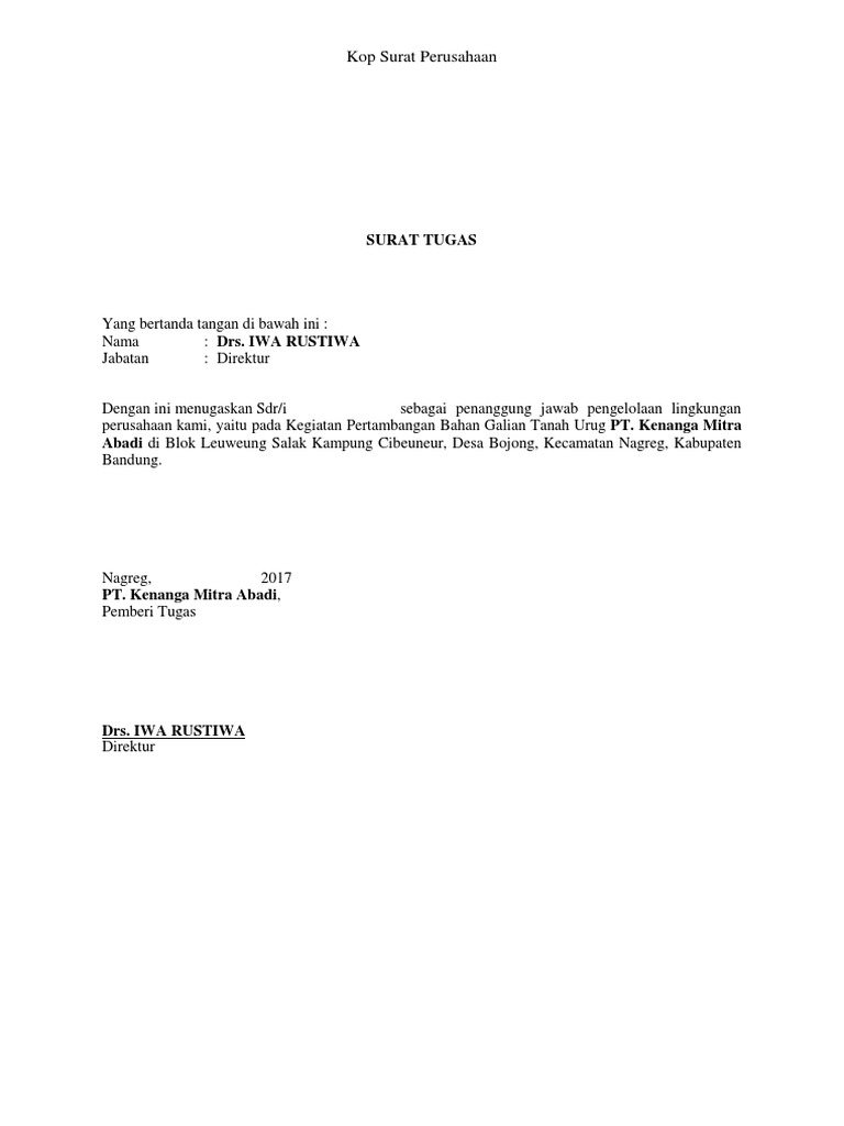 Surat Tugas Ukl Upl
