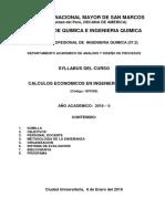Silabus de  Cálculos Económicos en Ingeniería Química 2018 - 0