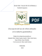 Descripción del uso de robots utilizados en la industria guatemalteca