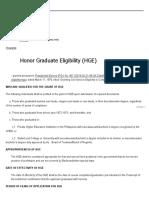 Honor Graduate Eligibility (HGE)