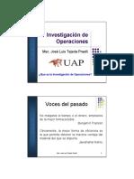 Sesion 01 - Que Es La Investigacion de Operaciones