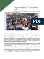 Masivo Cabildo Pide Respeto Al 21F y Anulación Del Código Penal