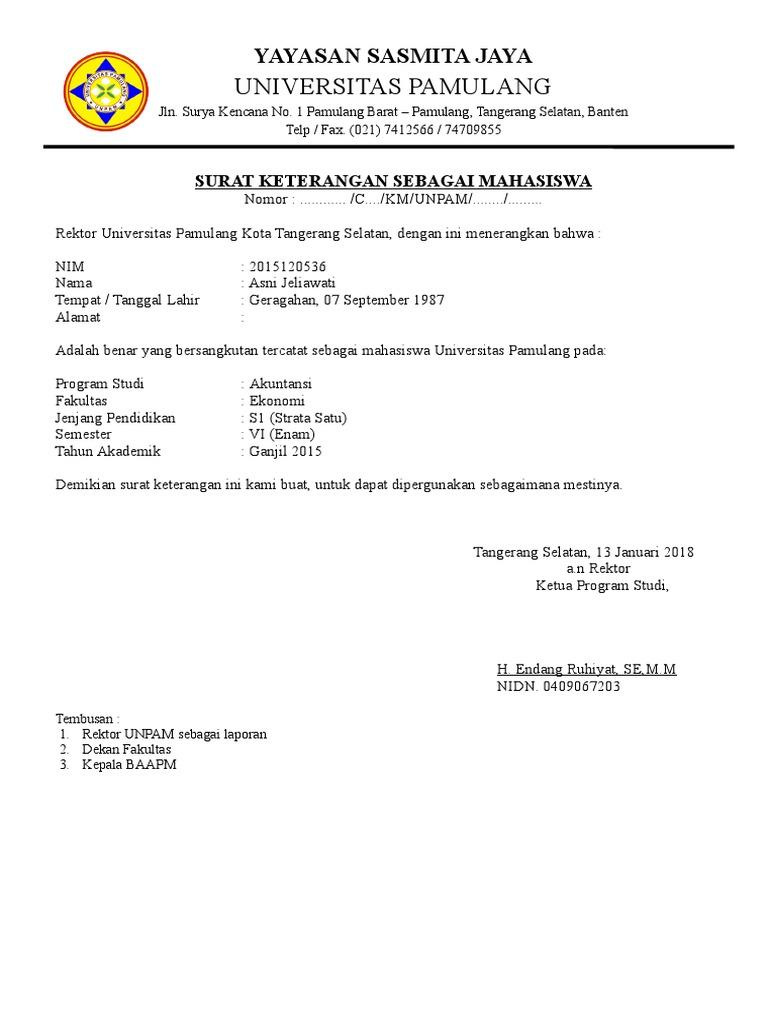 Surat Keterangan Sebagai Mahasiswa