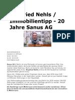 Siegfried Nehls Immobilien - 20 Jahre Sanus AG