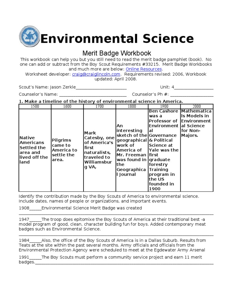 Worksheets Completed Merit Badge Worksheets environmental science bioinformatics water pollution