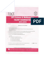 DPS Science & Mathematics TALENT EXAMINATION Sample Paper