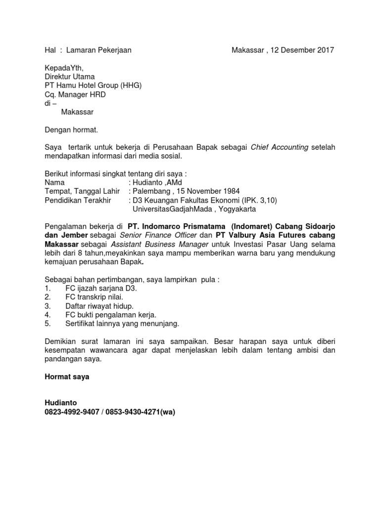 Pt Indomarco Prismatama Contoh Surat Lamaran Kerja Di ...