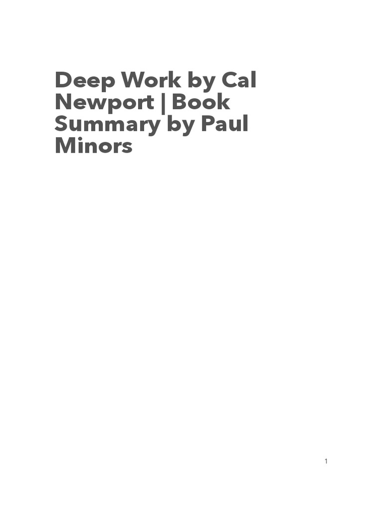 Deep Work PDF (resume) | Flow (Psychology) | Attention