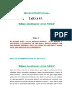 Tarea N° 05 Estado, Constitución y Crisis Politica