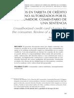 Cargo en Tarjeta de Credito No Autorizado Por El Consumidor