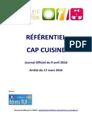 Referentiel Cap Cuisine 2016 Cuisine Securite