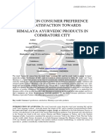 A Study on Consumer Preference and Satisfaction Towards Himalaya Ayurvedic Products in Coimbatore City Ijariie4749