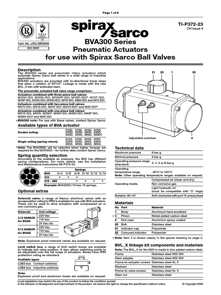 BVA300 Series Pneumatic Actuators for Use With Spirax Sarco
