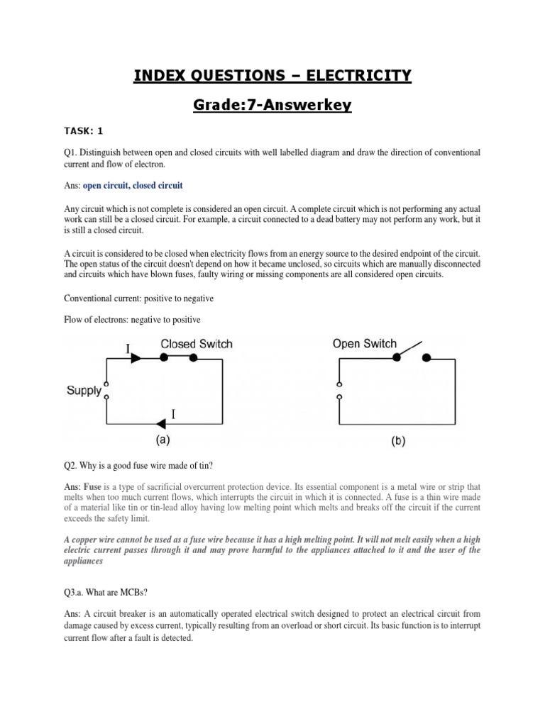 Answer Key Electricity 1 Incandescent Light Bulb Fuse Electrical Short Circuit Appliances