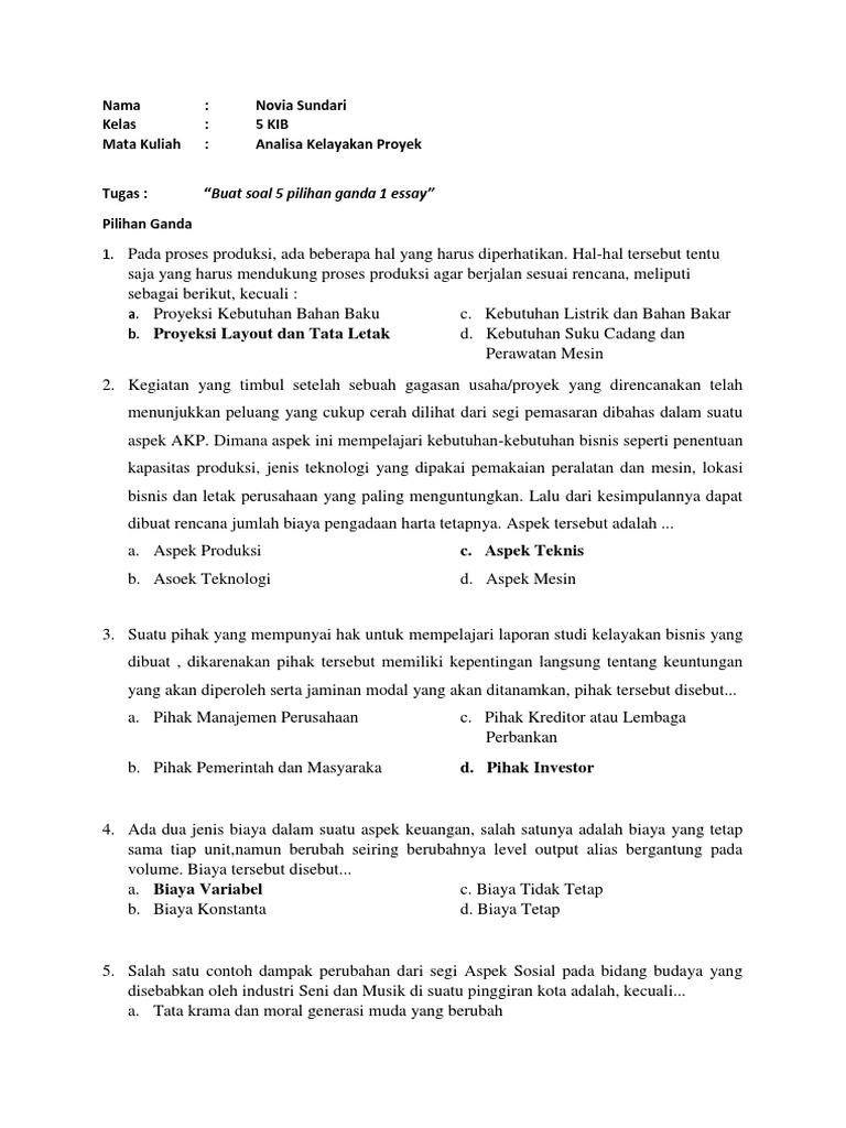 Contoh Soal Studi Kelayakan Bisnis Npv Contoh Soal Terbaru