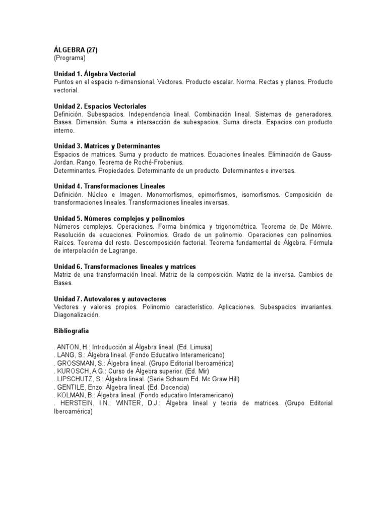 ALGEBRA LINEAL Y TEORIA DE MATRICES HERSTEIN PDF