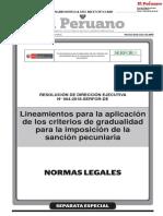 Lineamientos para la aplicación de los criterios de gradualidad para la imposición de la sanción pecuniaria