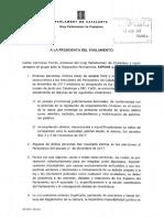 Cs registra la petición de informe de los letrados del Parlament sobre la investidura