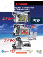 Canon ZR90MC MiniDV Camcorder Data Sheet