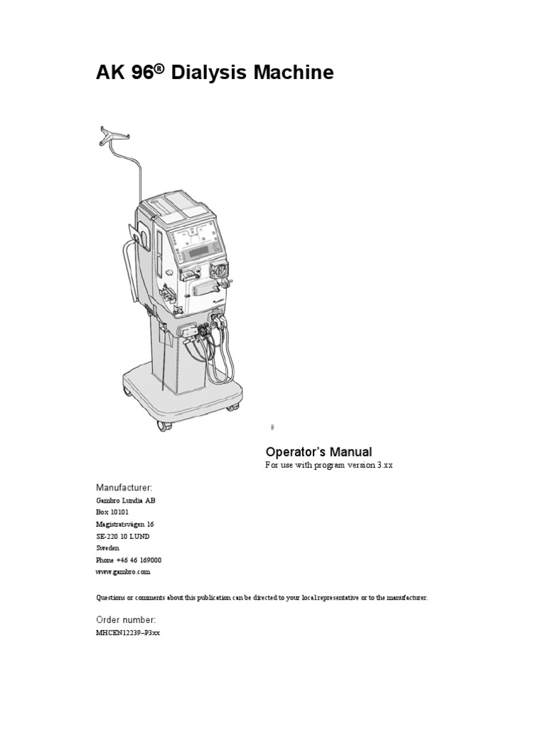 Gambro AK 96® Dialysis Machine Operator's Manual | Hemodialysis | Dialysis